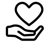 giving heart and hand icon